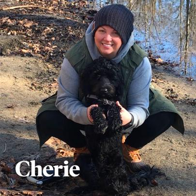 Cherie outside with her dog