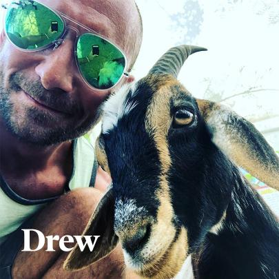Drew and a goat