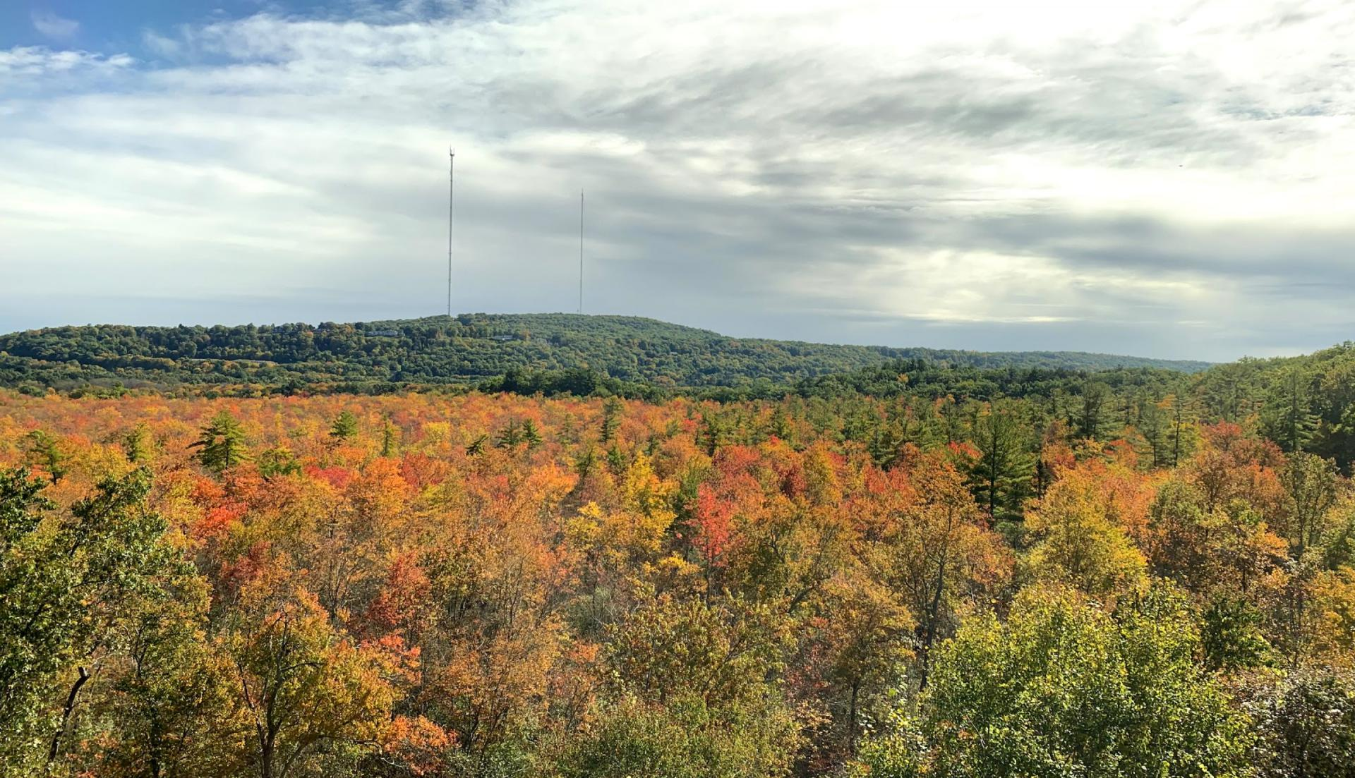Aerial view of the CT Farmington Valley in the Autumn.