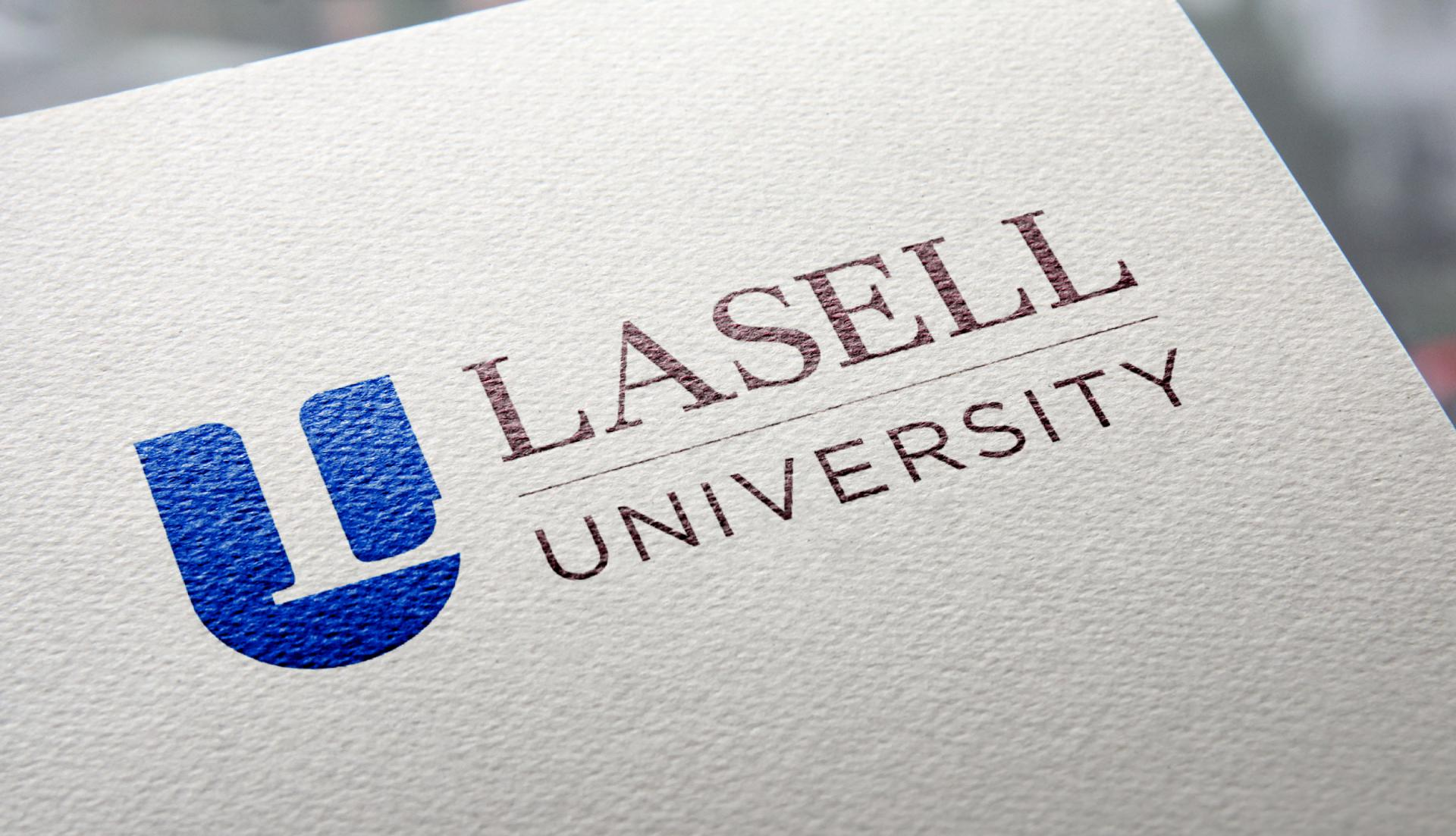Lasell University logo on letterhead zoomed in.