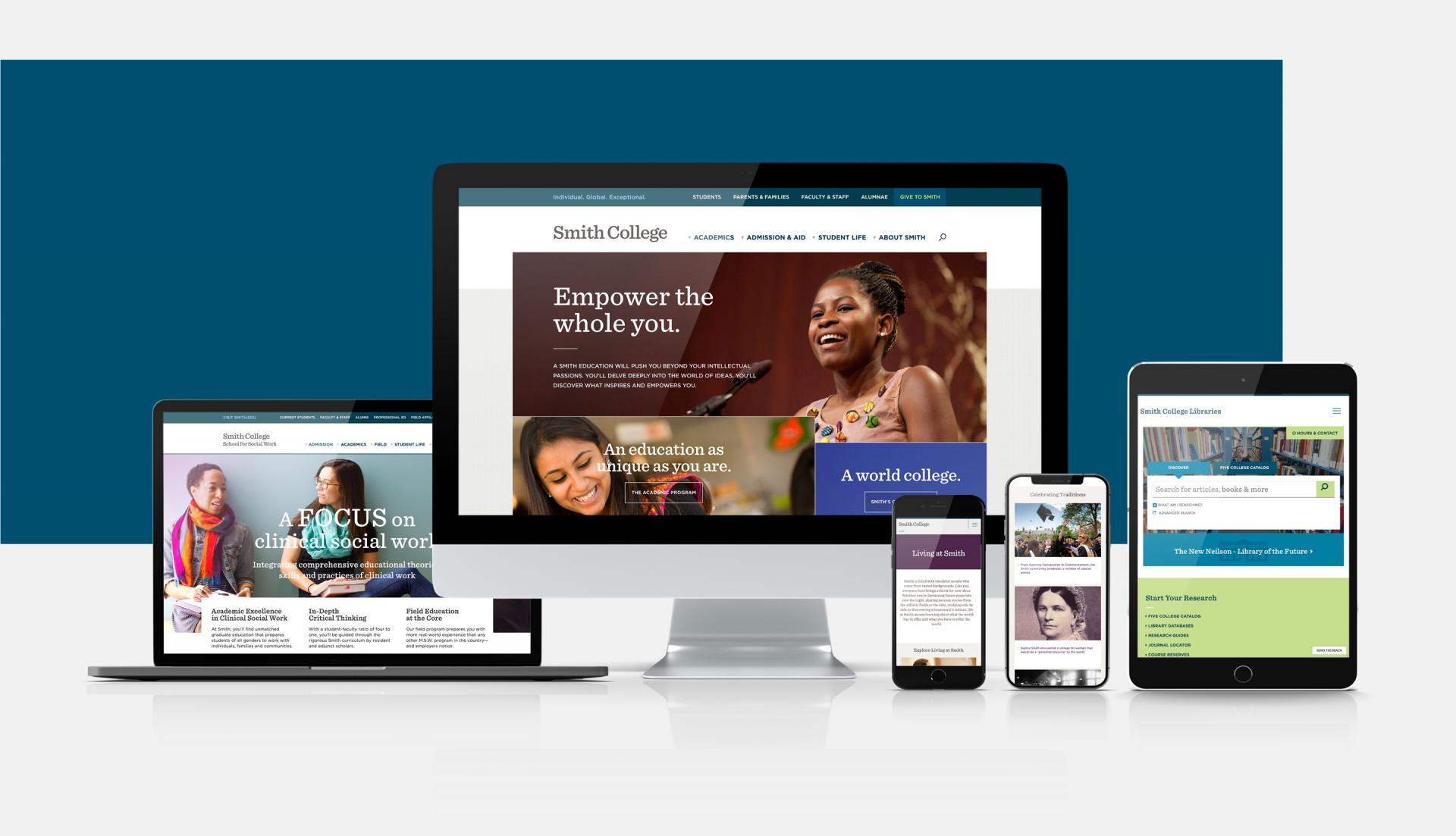 Smith College website displaying on different devices.