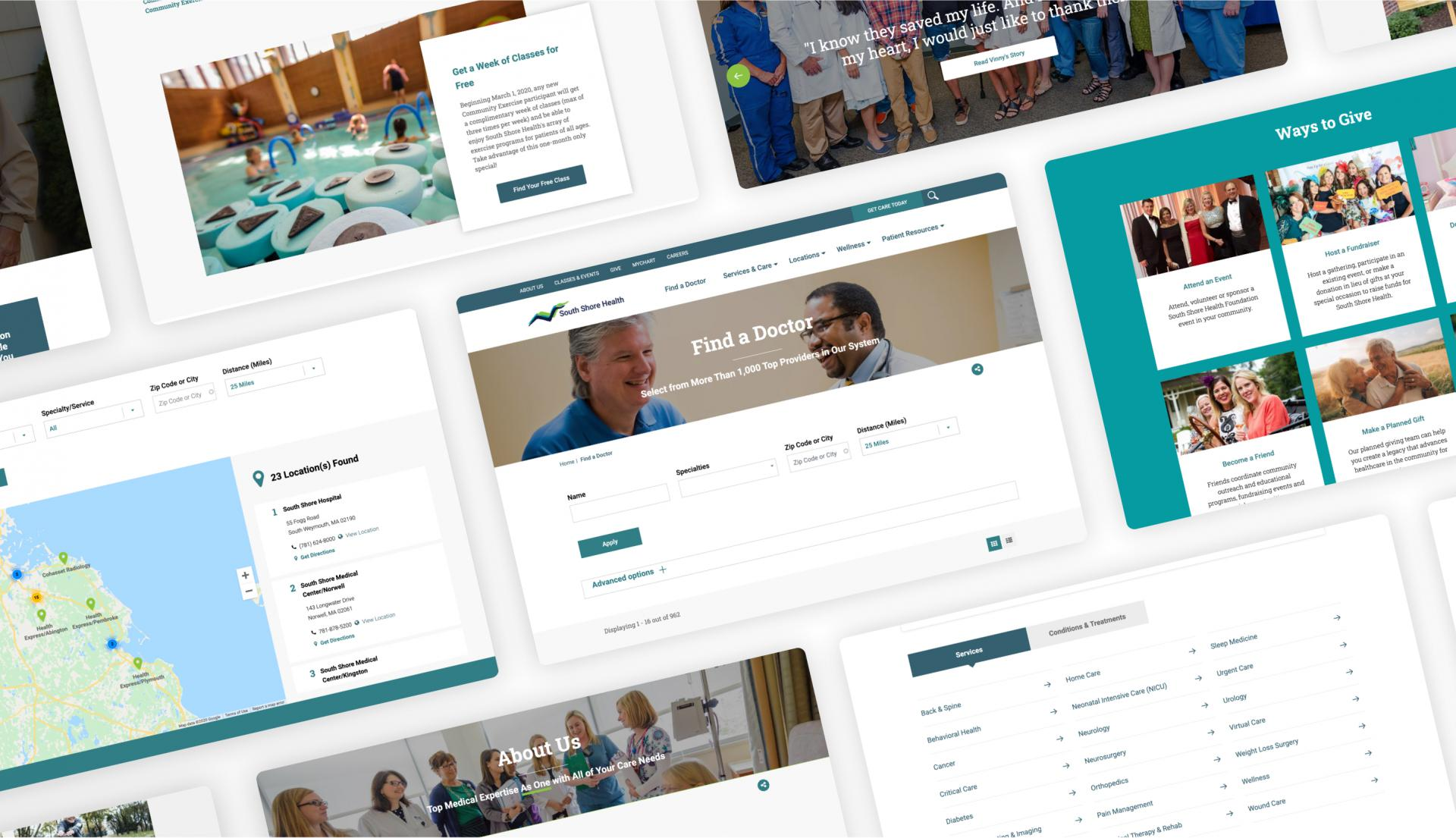 South Short Health website screens.