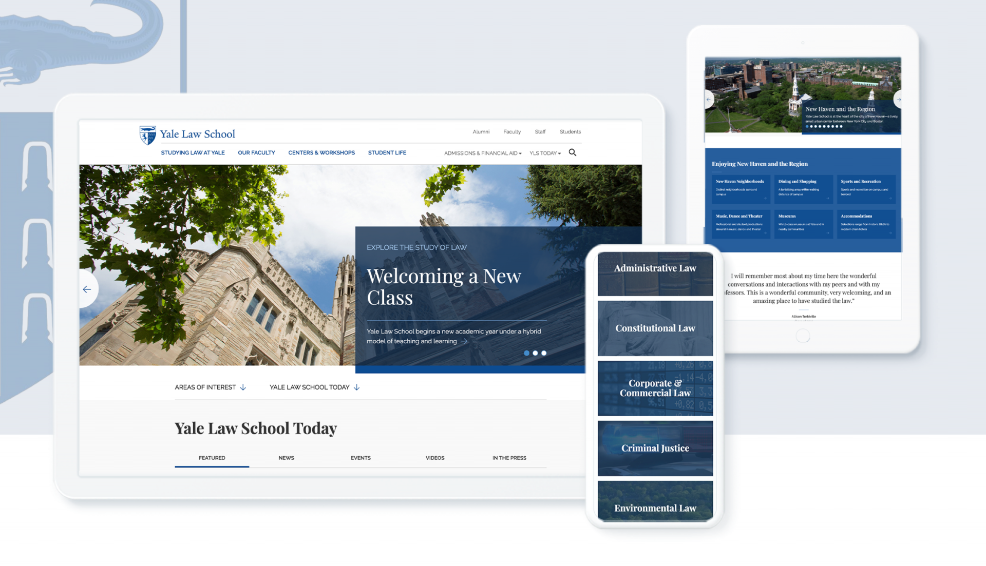 The redesigned Yale Law School website shown in multiple devices
