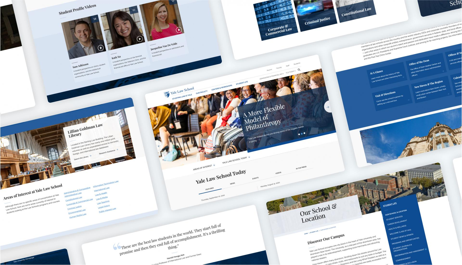 tablet view of multiple screens from the redesigned Yale Law School website