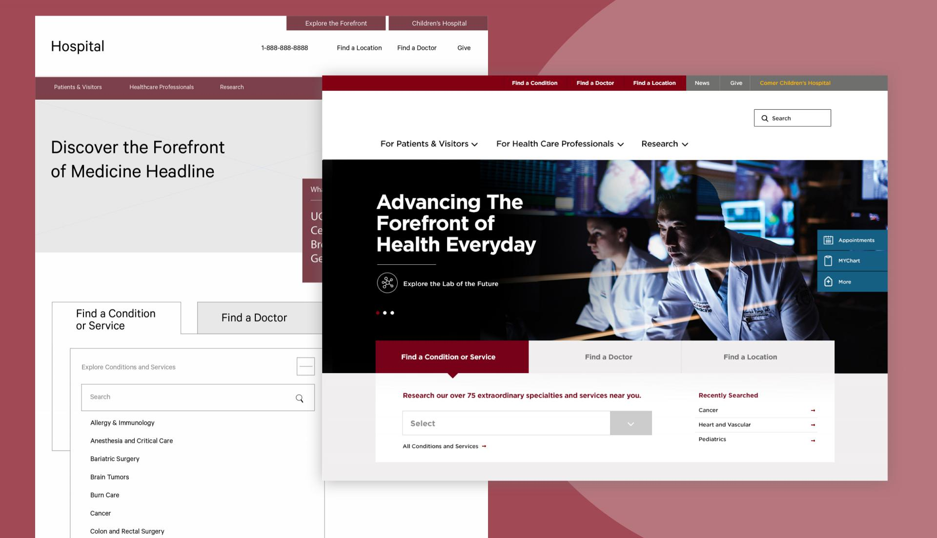 hospital website wireframe example