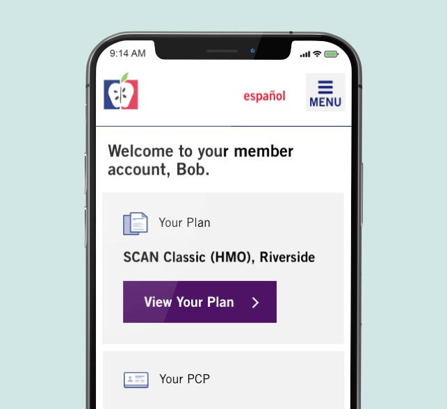 Close up view of SCAN Health member account on mobile.